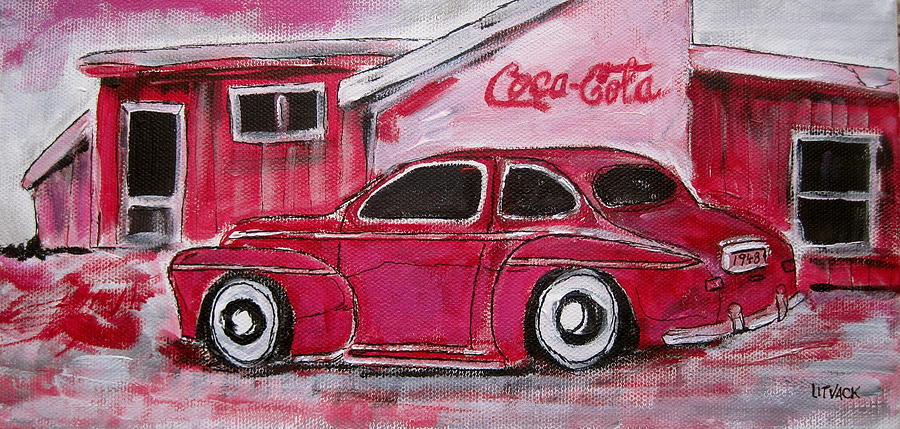 Ford Painting - Red 1948 Ford Coupe by Michael Litvack