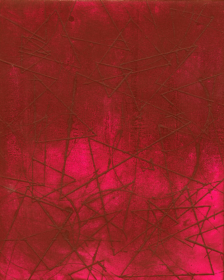 Intaglio Photograph - Red Abstract Shapes by Rockstar Artworks
