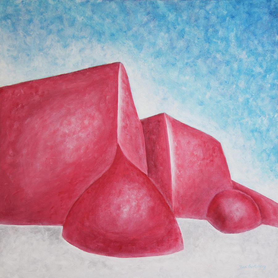 Red Adobes Under Winter Desert Sky by Ben Gertsberg