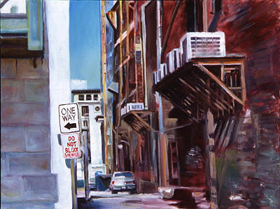 Cityscape Painting - Red Alley by Marty Smith