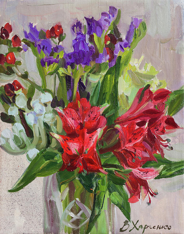 Red Alstroemeria Painting