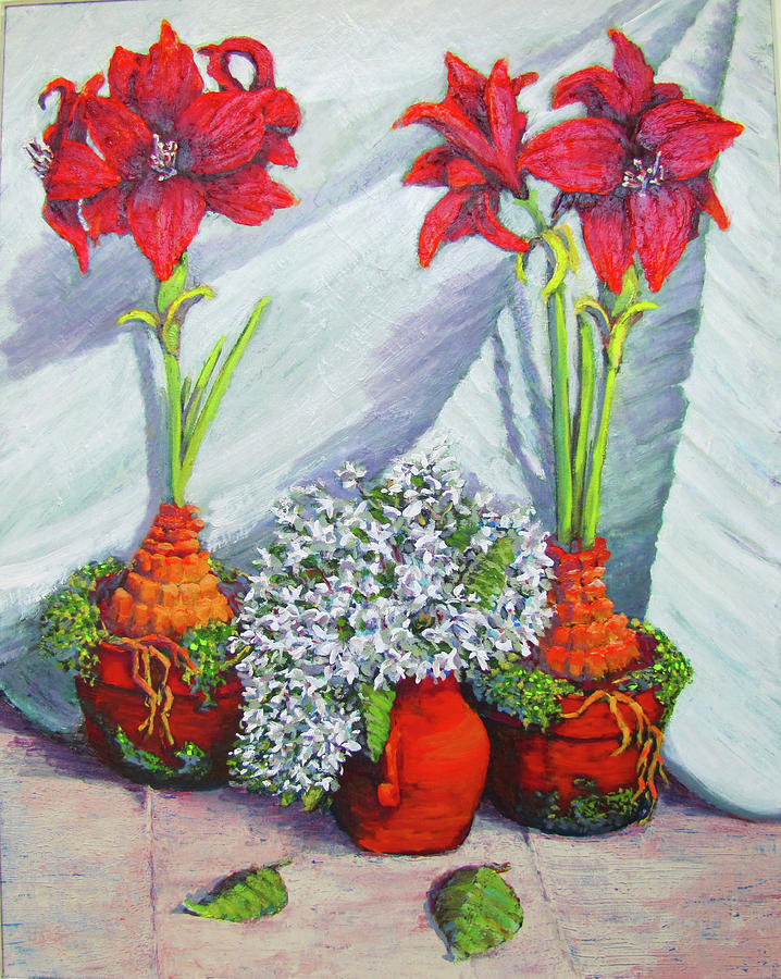 Amaryllis Painting - Red Amayrillis by Thomas Michael Meddaugh