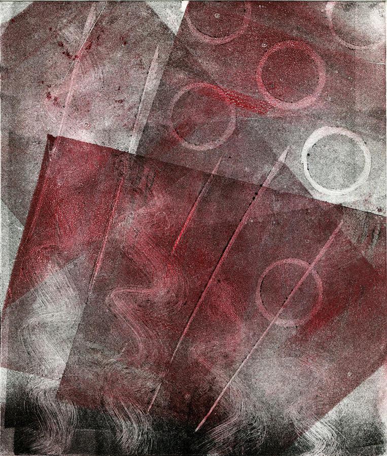 Printmaking Mixed Media - Red And Black Abstract Monoprint by Sheryl Karas
