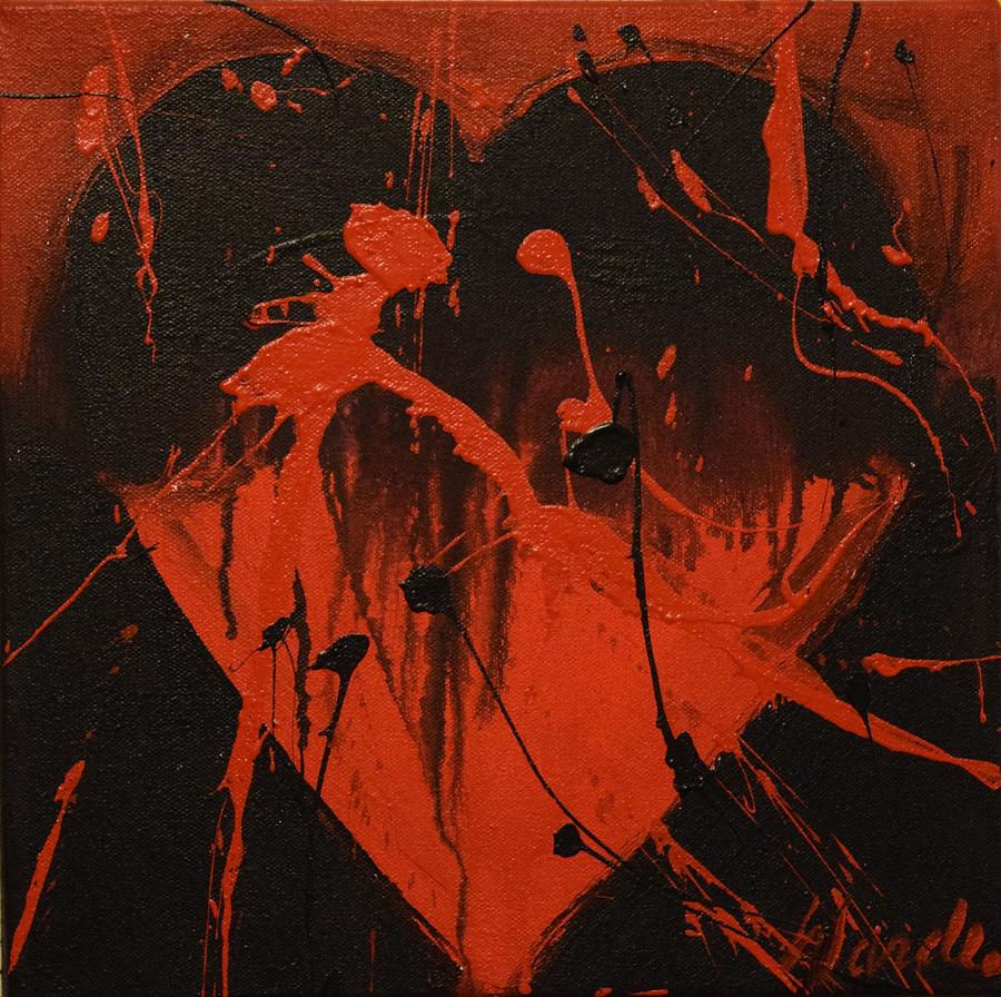 Love Painting - Red And Black Heart 1 by Michael Wardle