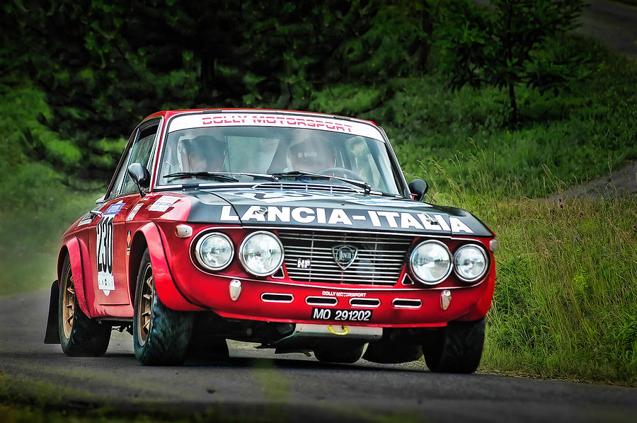 Car Photograph - Red And Black Lancia Fulvia by Alain De Maximy