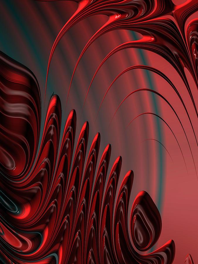 Red And Black Modern Fractal Design Digital Art by ...