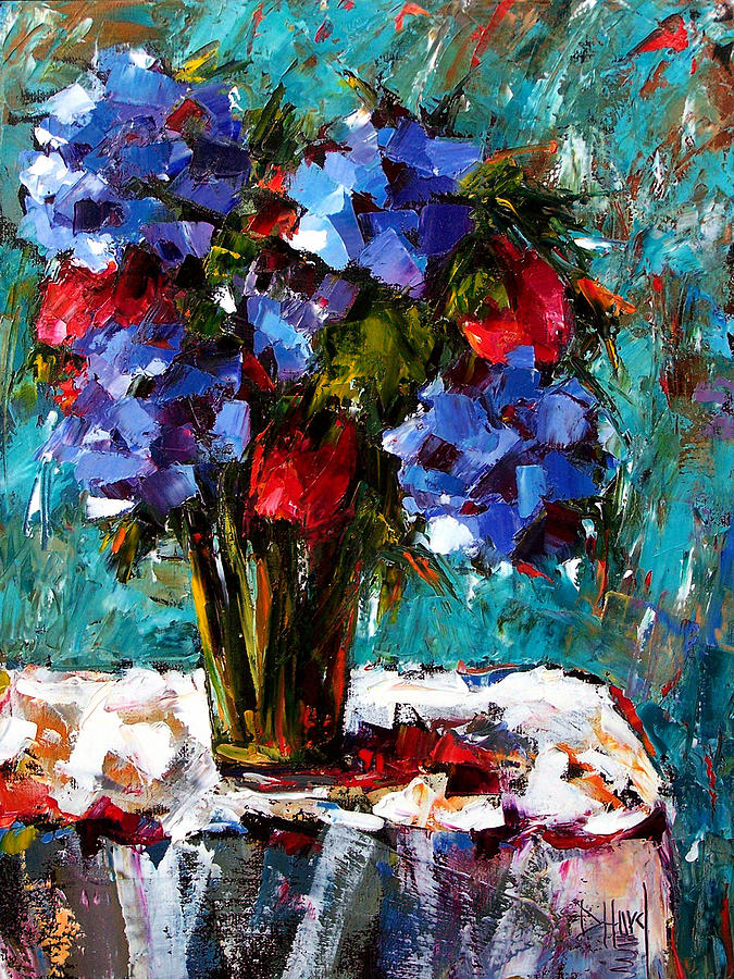 Red And Blue Painting by Debra Hurd