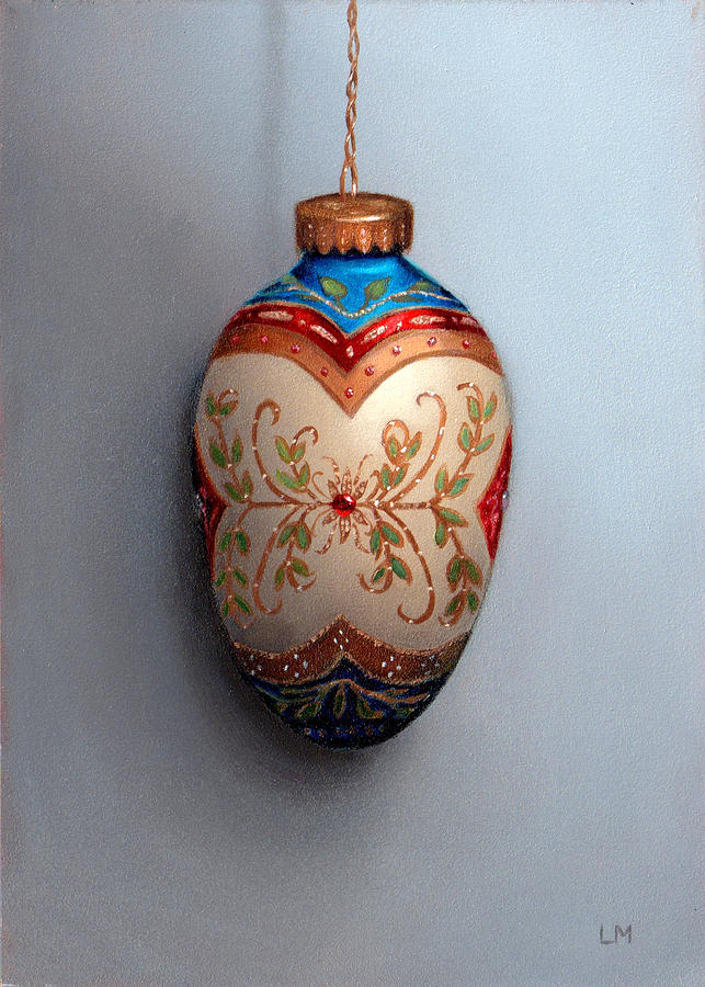 Egg Painting - Red And Blue Filigree Egg Ornament by Linda Merchant