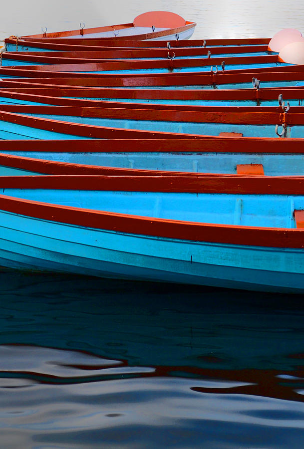 Paddleboats Photograph - Red and Blue Paddle Boats by Caroline Reyes-Loughrey