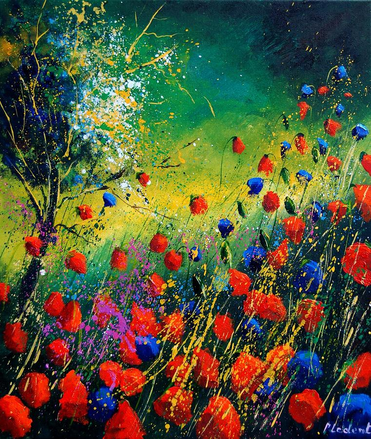 Flowers Painting - Red And Blue Poppies  by Pol Ledent