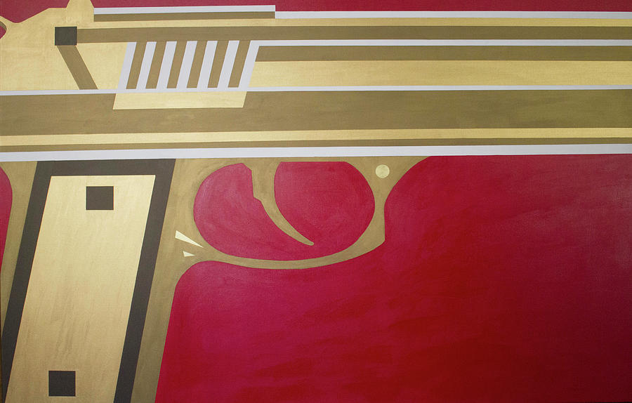 Red Painting - Red And Gold Gun  by Jackie Warner