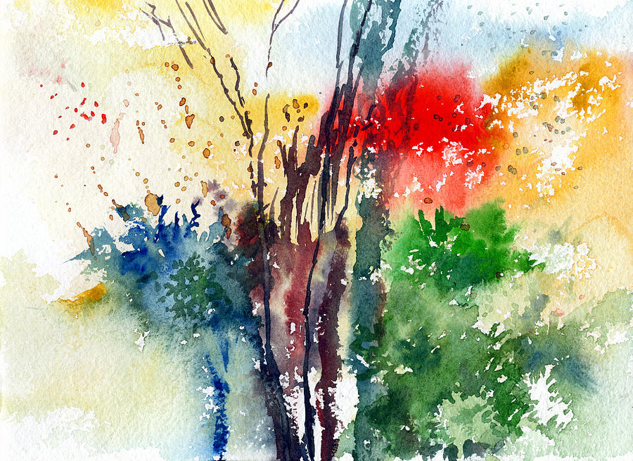 Watercolor Painting - Red And Green by Anil Nene