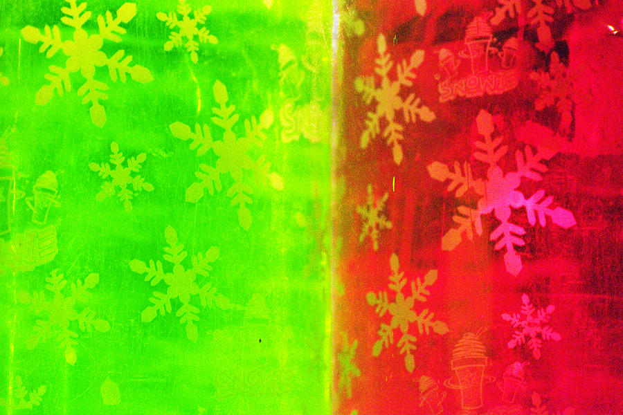 Red Photograph - Red And Green With A Snowflake Pattern by Richard Henne