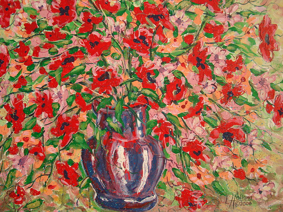 Flowers Painting - Red And Pink Poppies. by Leonard Holland
