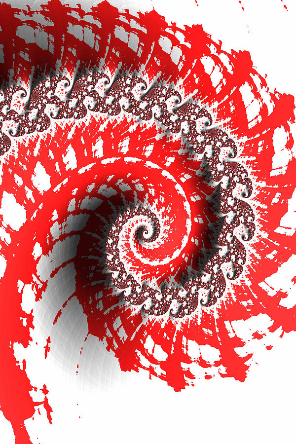 Red And White Photograph - Red And White Fractal by Bonnie Bruno