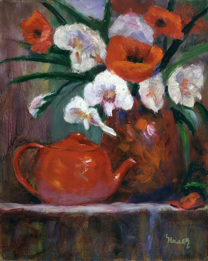 Teapot Painting - Red And White by Linda Hiller