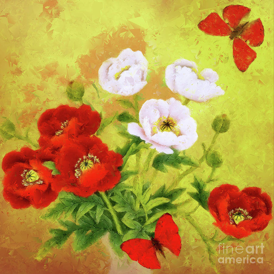 Red And White Poppy Flowers Painting By Olga Hamilton