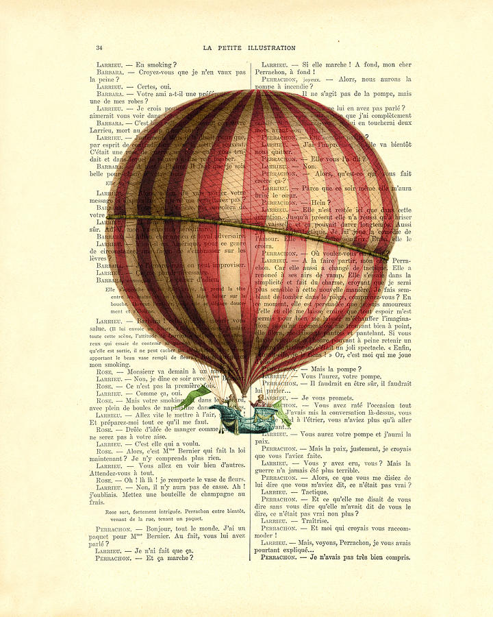 Hot Air Balloon Digital Art - Red And White Striped Hot Air Balloon Antique Photo by Madame Memento