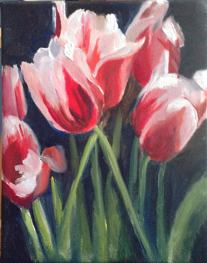 Red And White Tulips Painting By Mary Marin