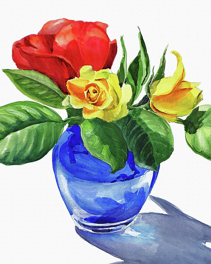 Red And Yellow Rose In Blue Glass Vase Watercolor Painting By Irina