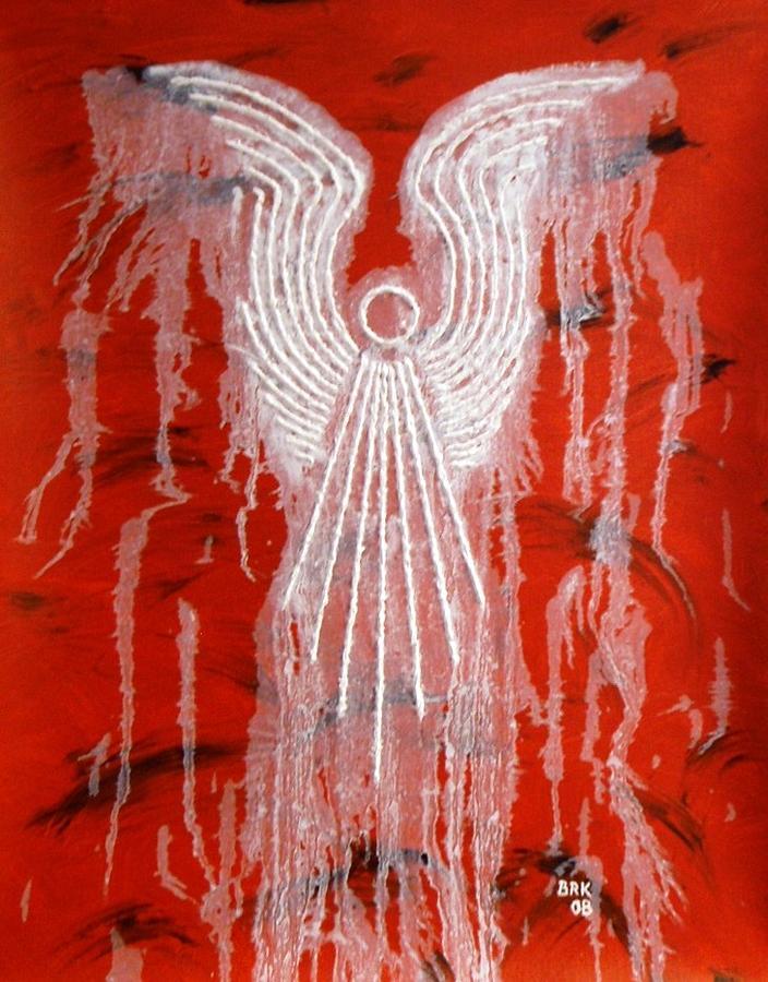 Angel Painting - Red Angel by Bo Klinge