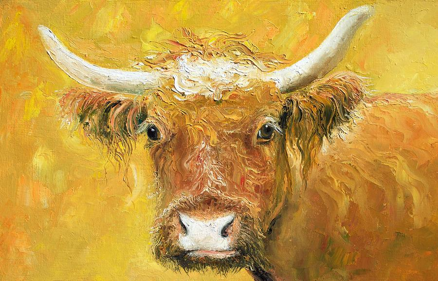 Red Angus Cow Painting - Red Angus Cow by Jan Matson
