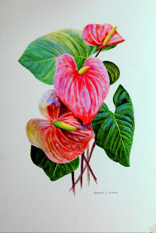 Garden Painting - Red Anthriums by Dennis Clark