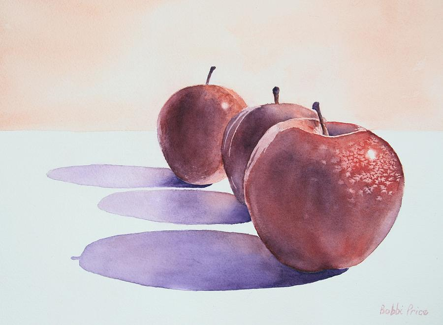 Watercolor Painting - Red Apples by Bobbi Price
