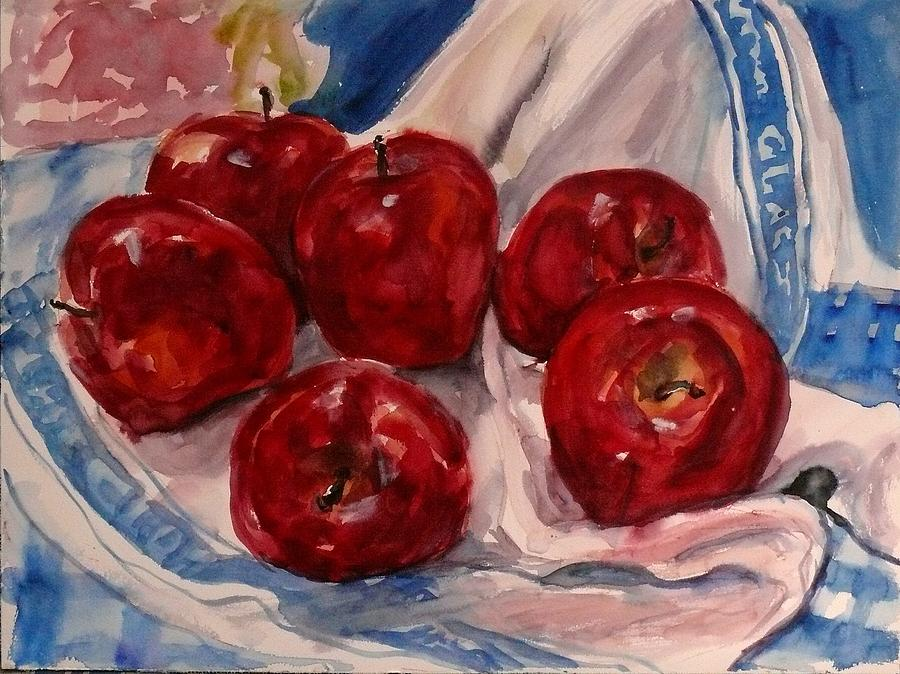 Watercolour Painting - Red Apples by Doranne Alden