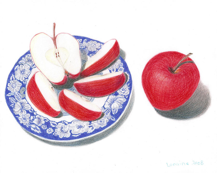 Red Painting - Red Apples by Loraine LeBlanc