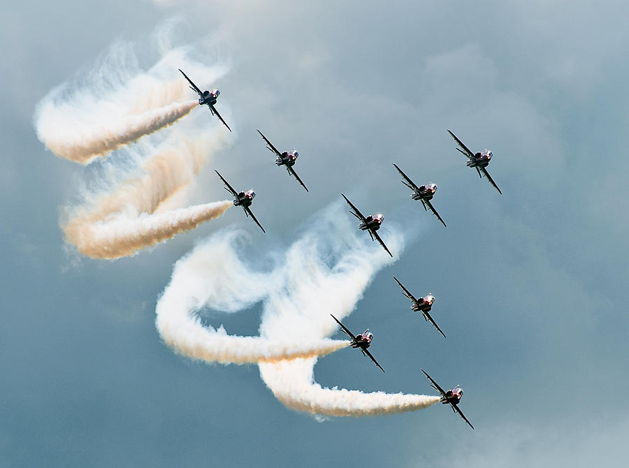 Red Photograph - Red Arrows by Jan Lykke