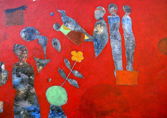 Red Background Painting by Ronex Ahimbisibwe