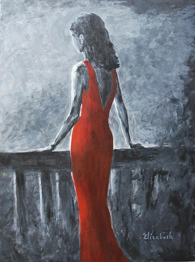 Red Painting - Red Balcony Dress by Beth Maddox