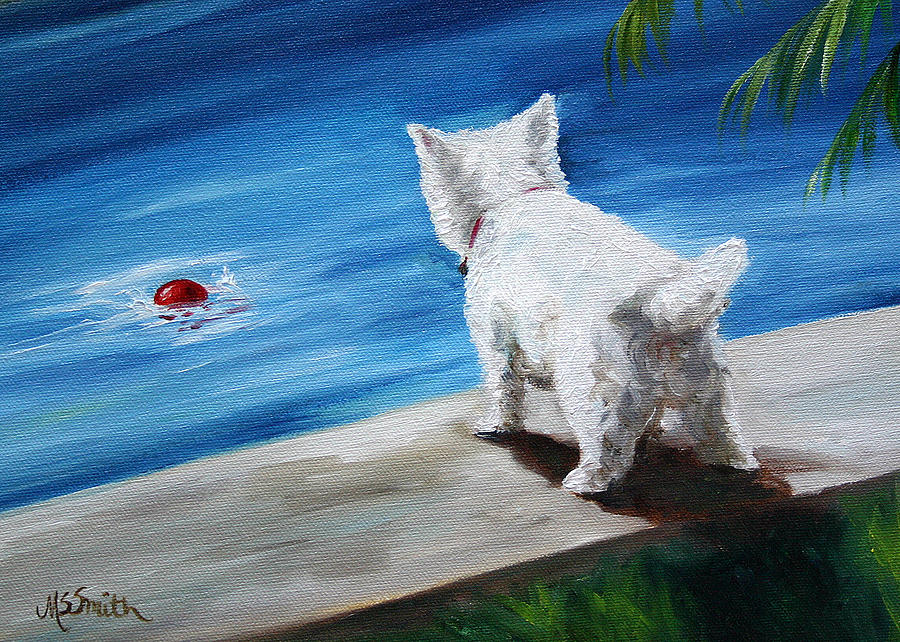 Westie Painting - Red Ball by Mary Sparrow