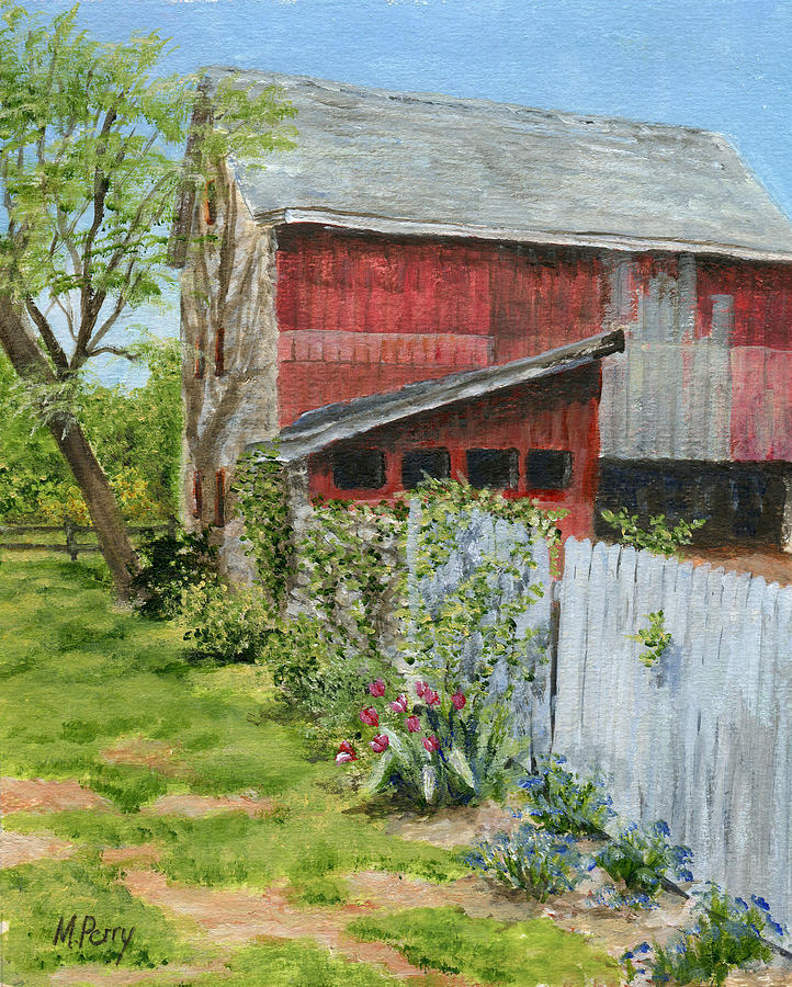Red Barn and Gray Fence by Margie Perry