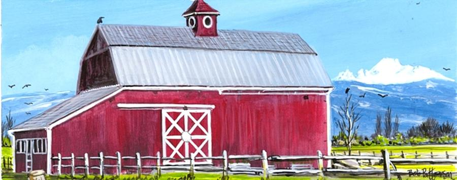 Landscape Painting - Red Barn And Mt Baker by Bob Patterson