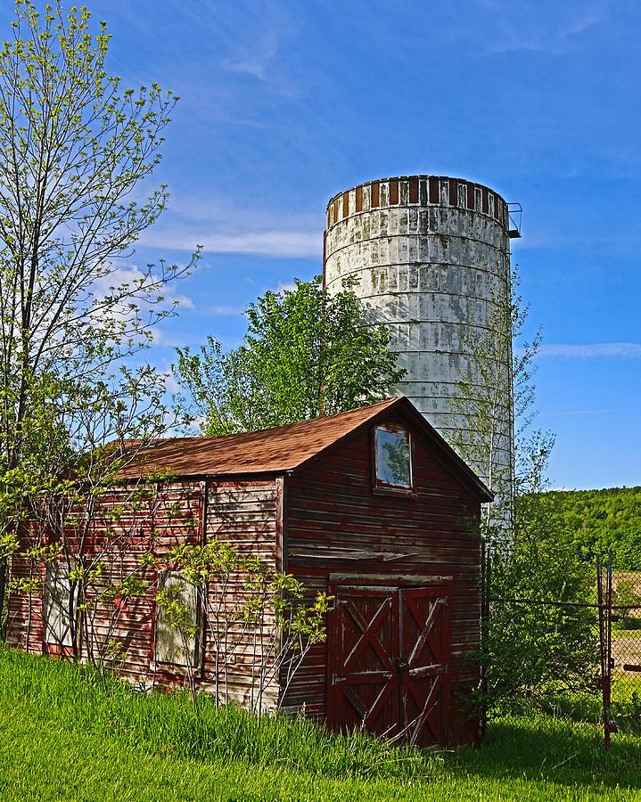 Red Barn and Silo by Paula Porterfield-Izzo