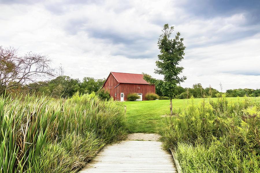 Dawes Photograph - Red Barn At Dawes Arboretum by Tom Mc Nemar