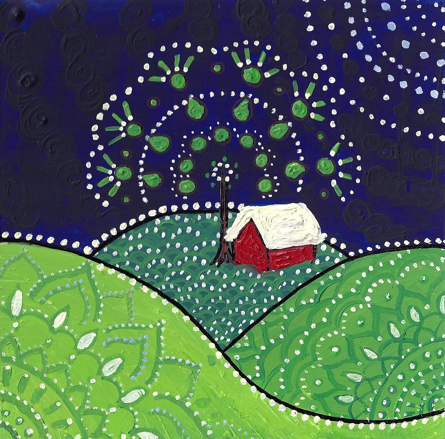 Red Barn at Night by Caroline Sainis