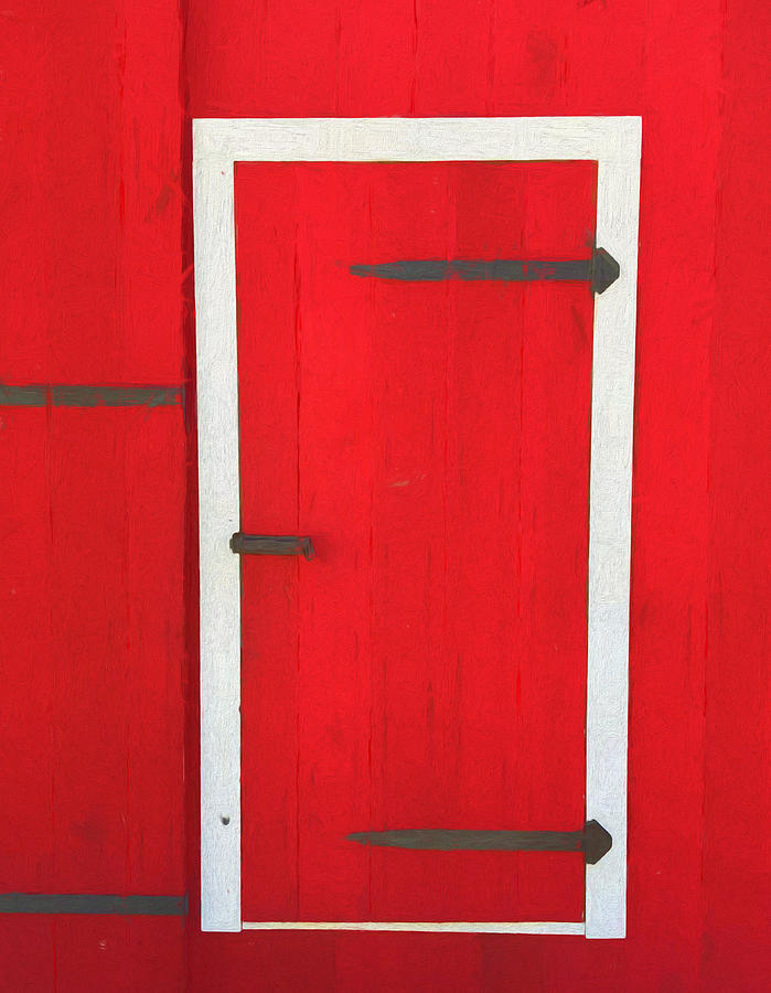 Red Barn Door Painting By Dan Sproul