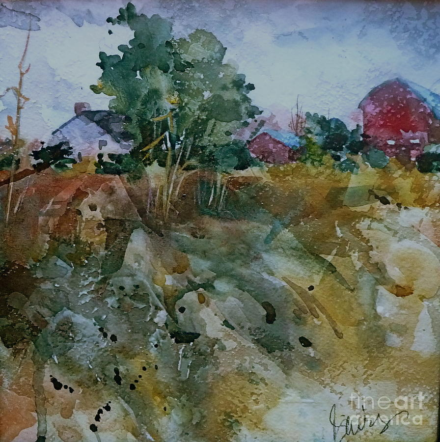 Barns Painting - Red Barn Hill by Xx X