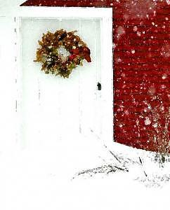 Door Photograph - Red Barn Holidays by Suerae Stein