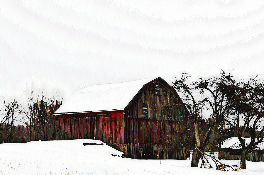 Red Barn Photograph - Red Barn In Snow by Bill Cannon