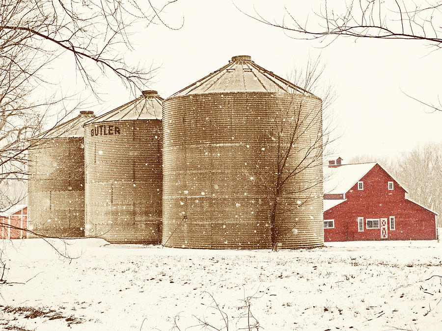 Red Barn In Snow Photograph