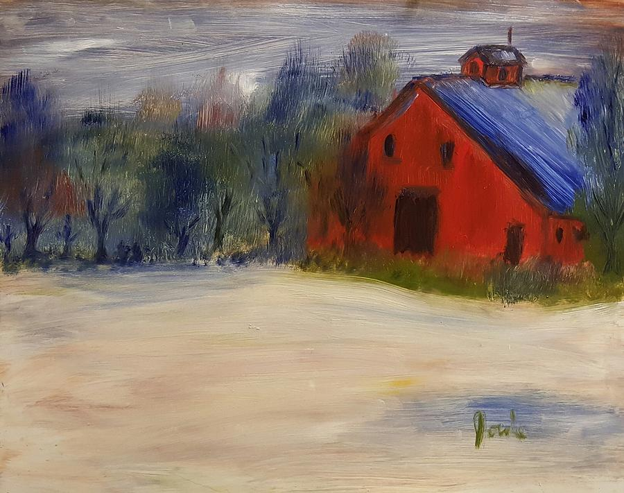 Barn Painting - Red Barn In Snow  by Steve Jorde
