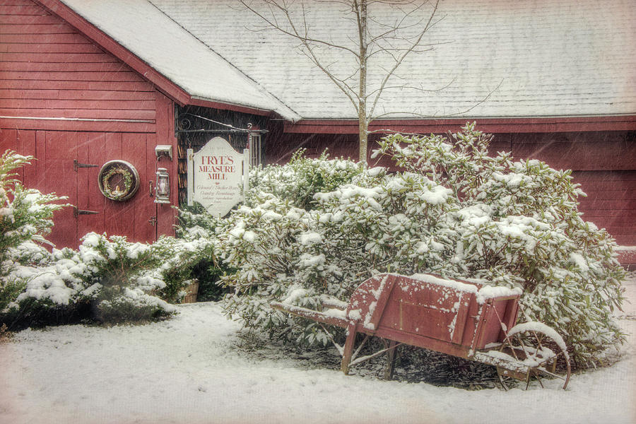 Red Barn in Snow - Wilton, NH by Joann Vitali