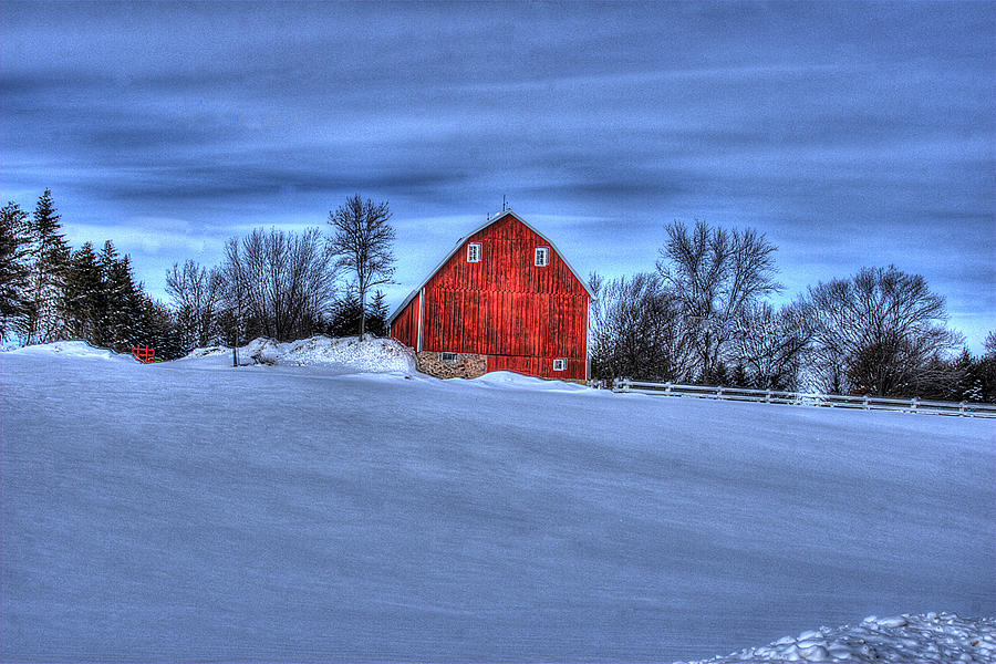 Barn Photograph - Red Barn In Winter by Laurie Prentice