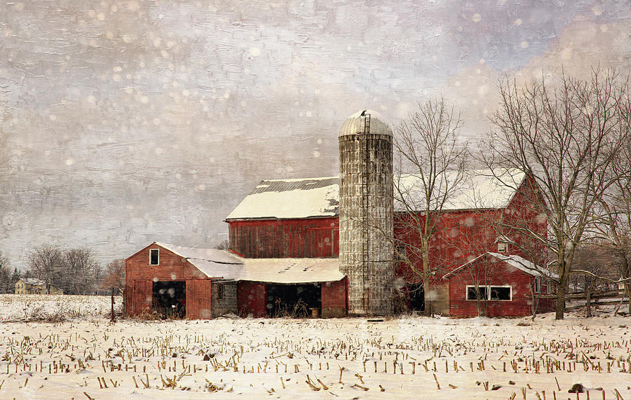 Red Barn In Winter Photograph by Scott Fracasso