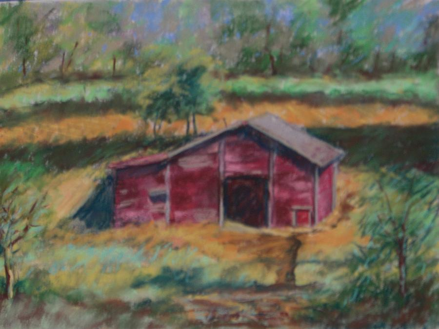 Barn In A Field Painting - Red Barn by Jan Kozel