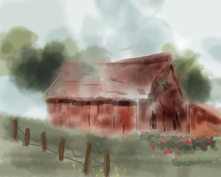 Barn Digital Art - Red Barn by John Bennett